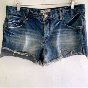 Free People Button Fly Distressed Jean Shorts 29